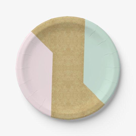 Tiffany Mint Pink Gold Glass Patel Geometry Paper Plate