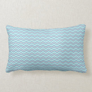 Tiffany Navy Blue Aqua Beach Ocean Chevron Lumbar Pillow