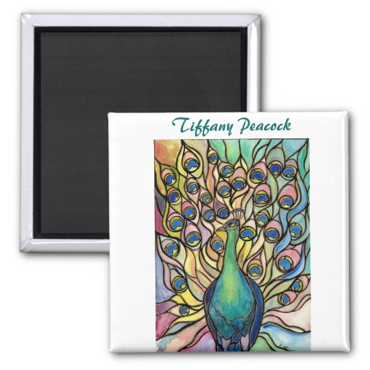 Tiffany Peacock Stained Glass style ART Magnet! Magnet