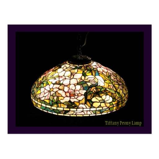 Tiffany Peony Lamp Elegant  Art Postcards