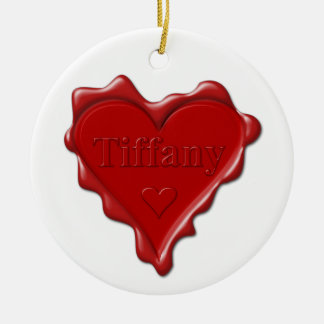 Tiffany. Red heart wax seal with name Tiffany Christmas Ornament