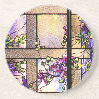 Tiffany Stained Glass Clematis Lattice Coaster
