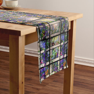 Tiffany Stained Glass Flowers Table Runner