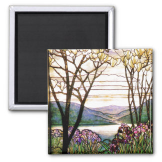 Tiffany Stained Glass Iris Flowers Floral Square Magnet
