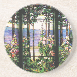 Tiffany Stained Glass Window Hollyhocks Art Beverage Coasters