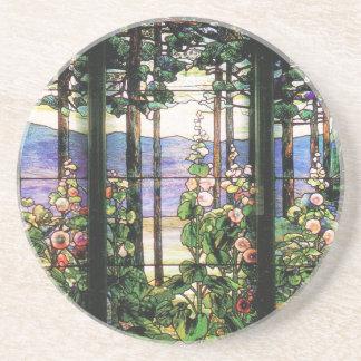 Tiffany Stained Glass Window Hollyhocks Art Coaster