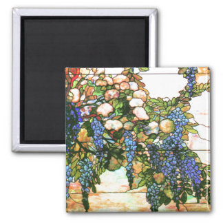 Tiffany Stained Glass Wisteria Flowers Floral Square Magnet