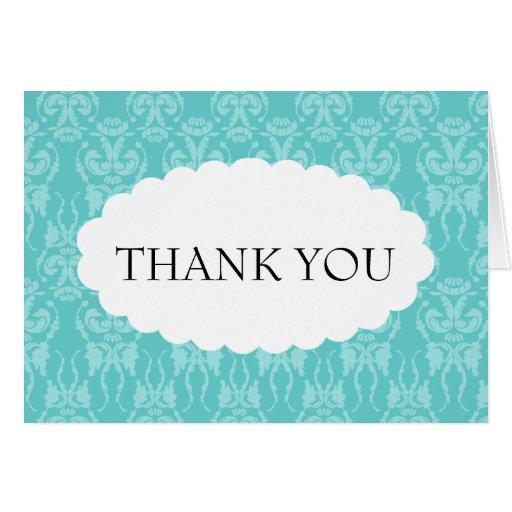 Tiffany Teal Damask Wedding Thank You Card | Zazzle