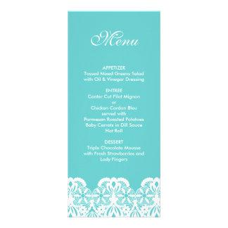 Tiffany Teal Lace Wedding Menu Rack Cards