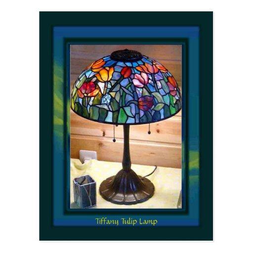 Tiffany Tulip Lamp Art Post Cards