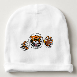 Tiger American Football Ball Breaking Background Baby Beanie