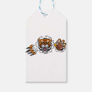 Tiger American Football Ball Breaking Background Gift Tags