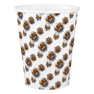 Tiger American Football Ball Breaking Background Paper Cup