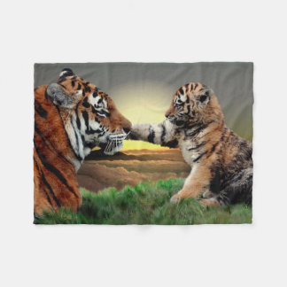 Tiger and Cub Fleece Blanket