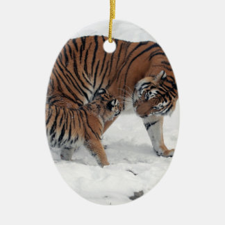 Tiger and cub in snow beautiful photo, gift christmas ornament