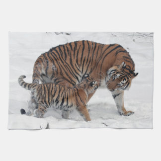 Tiger and cub in snow beautiful photo, gift tea towel