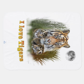 Tiger and cubs art baby blanket