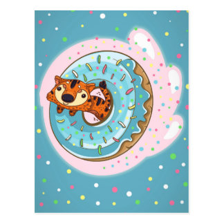 Tiger and donut postcard