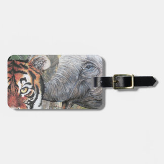 Tiger and elephant luggage tag
