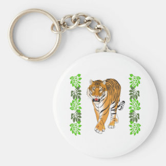 TIGER AND JUNGLE LEAVES KEY CHAINS