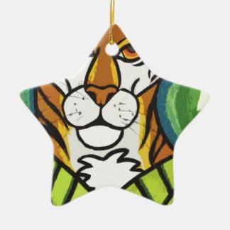 Tiger and leaf ceramic star decoration