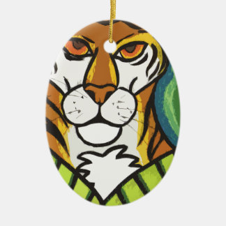 Tiger and leaf christmas ornament