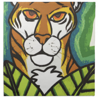 Tiger and leaf napkin
