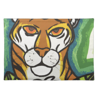 Tiger and leaf placemat