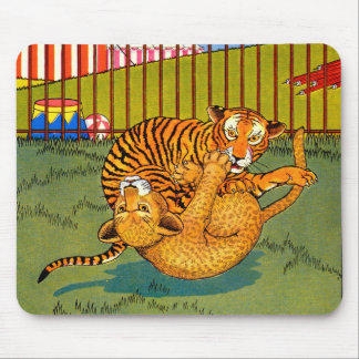 tiger and leopard wrestling mouse pad