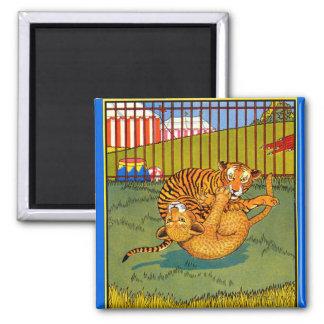 tiger and leopard wrestling square magnet