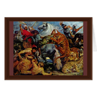 Tiger And Lion Hunting By Rubens Peter Paul Greeting Card