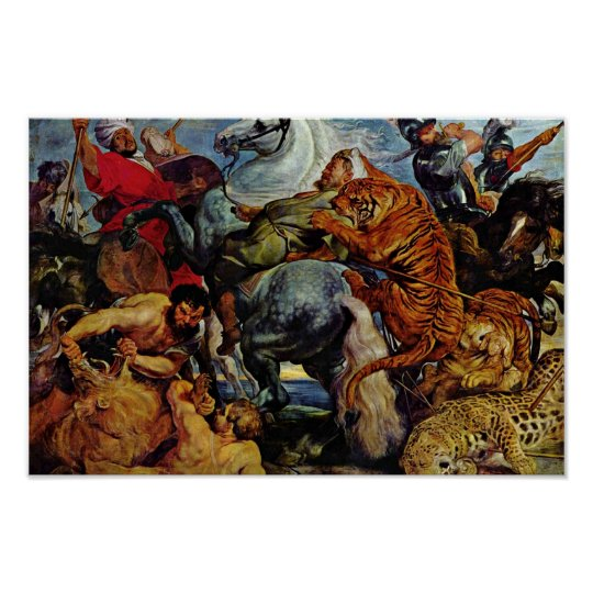 Tiger And Lion Hunting By Rubens Peter Paul