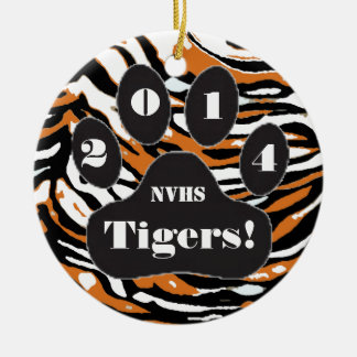 Tiger and Paw Print-School Spirit Round Ceramic Decoration