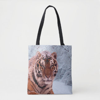 Tiger and Snow All-Over-Print Tote Bag