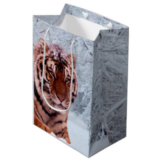 Tiger and Snow Medium Gift Bag