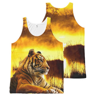 Tiger and Sunset All-Over Print Tank Top