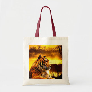 Tiger and Sunset Budget Tote Bag