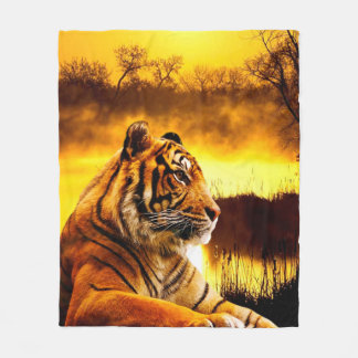Tiger and Sunset Fleece Blanket