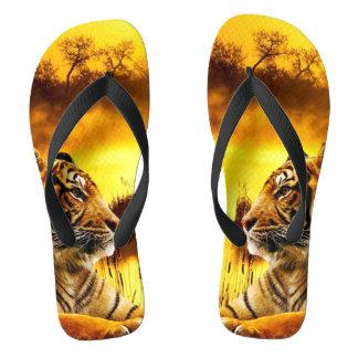 Tiger and Sunset Flip Flops