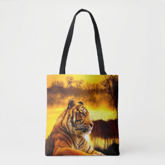 Tiger and Sunset Tote Bag