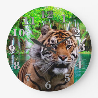 Tiger and Waterfall Large Clock