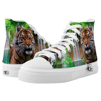 Tiger and Waterfall Printed Shoes