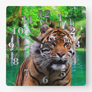 Tiger and Waterfall Square Wall Clock