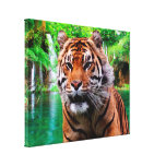 Tiger and Waterfall Wrapped Canvas