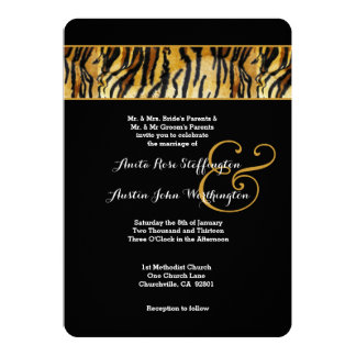 TIGER Animal Print Wedding V02 13 Cm X 18 Cm Invitation Card