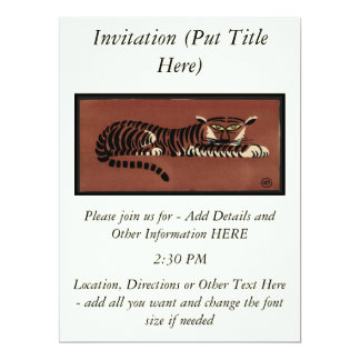 Tiger - Antiquarian, Colorful Book Illustration 17 Cm X 22 Cm Invitation Card