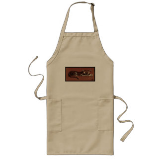 Tiger - Antiquarian, Colorful Book Illustration Long Apron