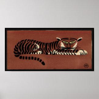 Tiger - Antiquarian, Colorful Book Illustration Poster