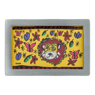 tiger art 2 rectangular belt buckles