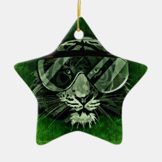 Tiger art ceramic star decoration